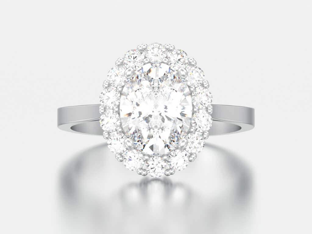 טבעת כסף שבמרכזה יהלום עגול